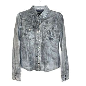Andrew Marc Gray Leather Shirt Jacket